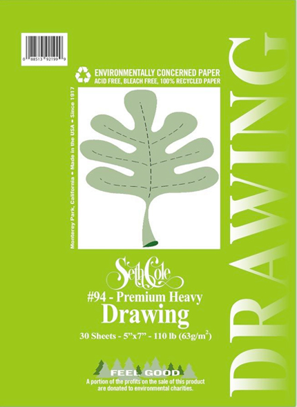 Seth Cole Premium Heavy Drawing Paper: Spiral, 9 x 12 inches, 30 Sheets
