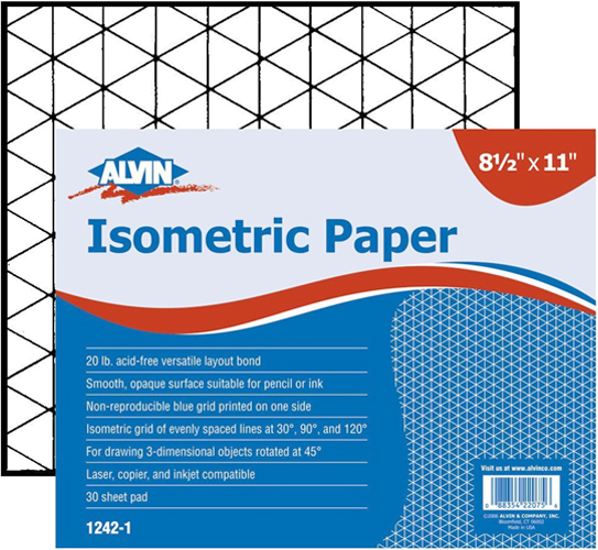 Alvin Isometric Paper 8.5 x 11inches 100 Sheet Pad