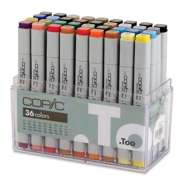 Copic® Original Set 36 Marker Set: Multi, Double-Ended, Alcohol-Based, Refillable, Broad Nib, Fine Nib