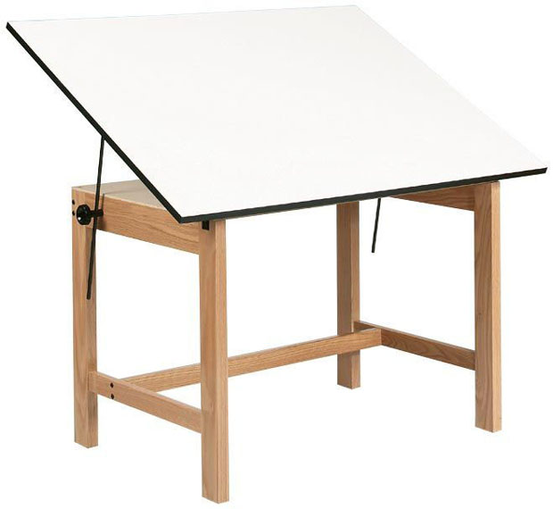 "Alvin Titan Solid Oak Table: Oak Finish, 37.5"" x 60"", 90 lbs."