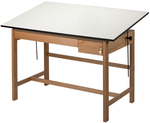 "Alvin Titan II Solid Oak Drafting Table: Two Oak Drawers, 37.5"" x 60"", 137 lbs."