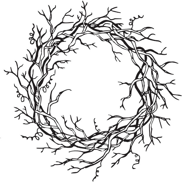 Sarasota Stamps Mounted Rubber Stamp Vine Wreath : Rubber, Mounted