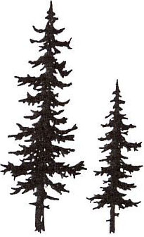Sarasota Stamps Mounted Rubber Stamp: Pine Trees