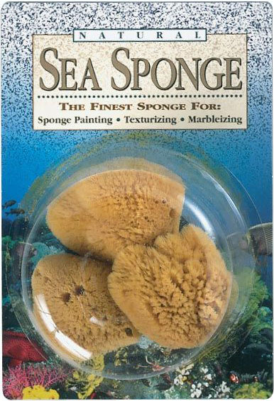 "Hydra Sponge Natural Sea Sponge: Texturizing 5""-6"" Wool, Pack of 3, Blister-Carded"