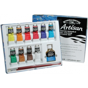 Winsor & Newton™ Artisan Water Mixable Oil 10-Color Studio Set: Multi, Oil, (model 1590252), price per set