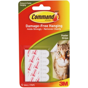 Command™ White Poster Strips: White/Ivory, Poster Strips, (model 17024), price per pack