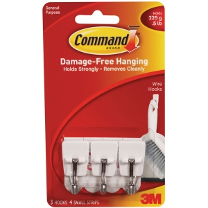 Command™ White Small Hooks with Silver Wire: White/Ivory, Wire, Hooks, (model 17067), price per pack