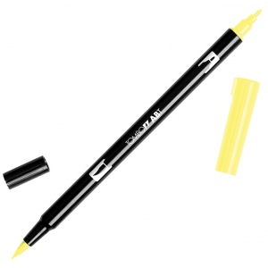 Tombow® Dual Brush® ABT Pen Pale Yellow: Yellow, Double-Ended, Dye-Based, Brush Nib, Fine Nib, Brush Pen, (model 56507), price per each