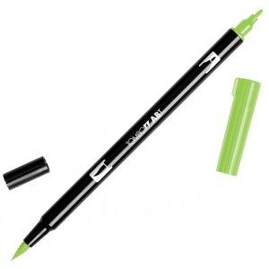 Tombow® Dual Brush® ABT Pen Willow Green: Green, Double-Ended, Dye-Based, Brush Nib, Fine Nib, Brush Pen, (model 56518), price per each