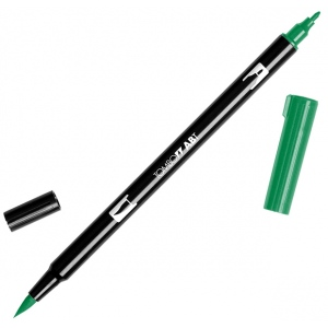 Tombow® Dual Brush® ABT Pen Sap Green: Green, Double-Ended, Dye-Based, Brush Nib, Fine Nib, Brush Pen, (model 56527), price per each