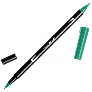 Tombow® Dual Brush® ABT Pen Dark Green: Green, Double-Ended, Dye-Based, Brush Nib, Fine Nib, Brush Pen, (model 56532), price per each