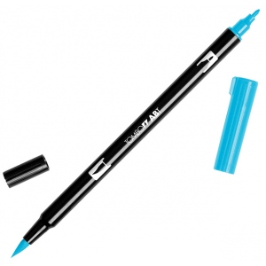 Tombow® Dual Brush® ABT Pen Turquoise: Blue, Green, Double-Ended, Dye-Based, Brush Nib, Fine Nib, Brush Pen