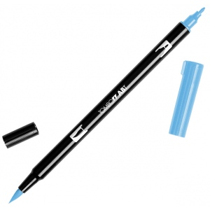 Tombow® Dual Brush® ABT Pen Peacock Blue: Blue, Double-Ended, Dye-Based, Brush Nib, Fine Nib, Brush Pen, (model 56561), price per each
