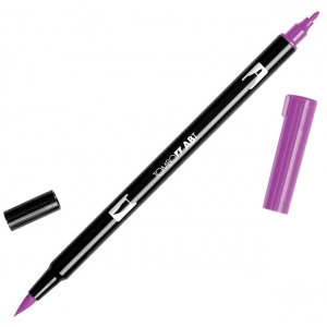 Tombow® Dual Brush® ABT Pen Purple: Purple, Double-Ended, Dye-Based, Brush Nib, Fine Nib, Brush Pen, (model 56574), price per each