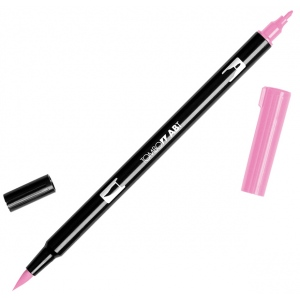 Tombow® Dual Brush® ABT Pen Pink Rose: Red/Pink, Double-Ended, Dye-Based, Brush Nib, Fine Nib, Brush Pen, (model 56579), price per each