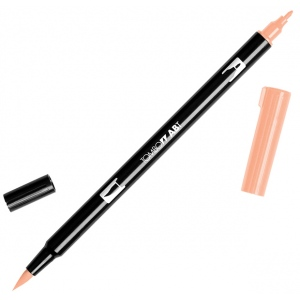 Tombow® Dual Brush® ABT Pen Coral: Red/Pink, Double-Ended, Dye-Based, Brush Nib, Fine Nib, Brush Pen