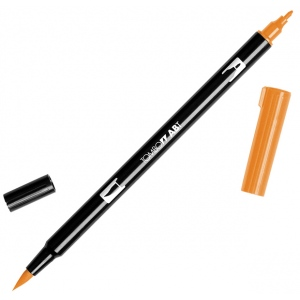 Tombow® Dual Brush® ABT Pen Gold Ochre: Brown, Orange, Double-Ended, Dye-Based, Brush Nib, Fine Nib, Brush Pen