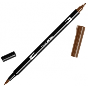 Tombow® Dual Brush® ABT Pen Chocolate: Brown, Double-Ended, Dye-Based, Brush Nib, Fine Nib, Brush Pen, (model 56613), price per each