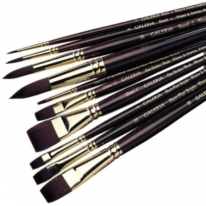 Winsor & Newton™ Galeria™ Flat Long Handle Brush #12: Long Handle, Synthetic, Flat, Acrylic
