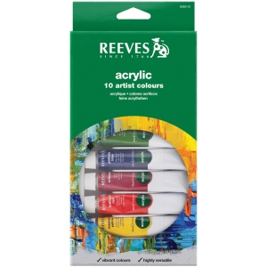 Reeves™ 22ml Acrylic 10-Color Set: Multi, Tube, 22 ml, Acrylic, (model 8390110), price per set
