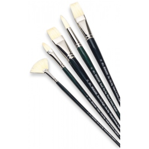 Winsor & Newton™ Winton Round Long Handle Brush #4: Long Handle, Bristle, Natural Hair, Round, Oil