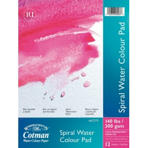 "Winsor & Newton™ Cotman™ 9"" x 12"" Watercolor Cold Press Paper Spiral Pad : Wire Bound, Pad, 9"" x 12"", Cold Press, Watercolor, 140 lb, (model 6657570), price per pad"