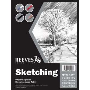 "Reeves™ 9 x 12 Sketching Pad: Fold Over, Pad, 9"" x 12"", 60 lb, (model 8490531), price per pad"