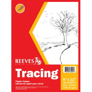 "Reeves™ 9 x 12 Tracing Pad: Pad, 50 Sheets, 9"" x 12"", 25 lb, (model 8490534), price per 50 Sheets pad"