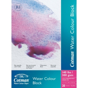 "Winsor & Newton™ Cotman™ 9"" x 12"" Watercolor Cold Press Paper Block : Block, 9"" x 12"", Cold Press, Watercolor, 140 lb, (model 6666570), price per each"