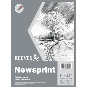 "Reeves™ 9 x 12 Newsprint Pad: Pad, 9"" x 12"", Newsprint, 32 lb, (model 8490535), price per pad"