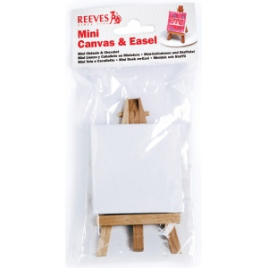 "Reeves™ Mini Canvas and Mini Easel in Poly Bag: Wood, 2 3/4"" x 2 3/4"", 4 3/4"", (model 8640938), price per each"
