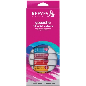 Reeves™ 10ml Gouache Watercolor Paint 12-Color Set: Multi, Tube, 10 ml, Gouache, (model 8793350), price per set