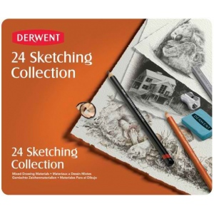 Derwent Sketching 24-Piece Tin Set: Multi, Block, Pencil, Drawing, Pastel, Watercolor, (model 34306), price per set