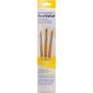 Princeton™ RealValue™ Watercolor Oil Acrylic and Tempera Sable Brush Set: Short Handle, Sable, Round, Acrylic, Oil, Tempera, Watercolor, (model 9105), price per set
