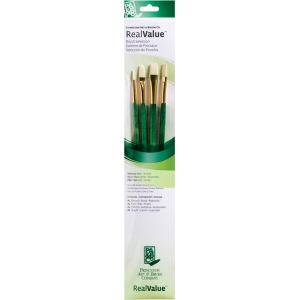 Princeton™ RealValue™ Oil Acrylic and Stain Bristle Brush Set: Long Handle, Bright, Filbert, Flat, Round, Acrylic, Oil, Stain, (model 9118), price per set