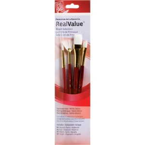 Princeton™ RealValue™ Watercolor Acrylic and Tempera White Taklon Brush Set