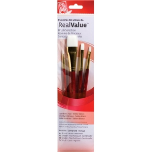 Princeton™ RealValue™ Watercolor Acrylic and Tempera White Taklon Brush Set: Short Handle, Taklon, Round, Shader, Wash, Acrylic, Tempera, Watercolor