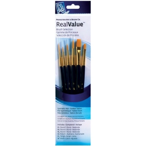 Princeton™ RealValue™ Watercolor Acrylic and Tempera Golden Taklon Brush Sets