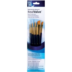 Princeton™ RealValue™ Watercolor Acrylic and Tempera Golden Taklon Brush Set: Short Handle, Taklon, Angular, Round, Acrylic, Tempera, Watercolor