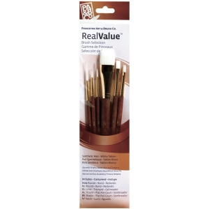 Princeton™ RealValue™ Watercolor Acrylic and Tempera White Taklon Brush Set: Short Handle, Taklon, Liner, Round, Shader, Wash, Acrylic, Tempera, Watercolor, (model 9140), price per set