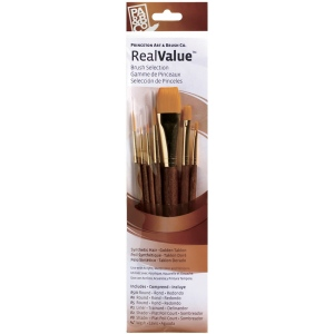 Princeton™ RealValue™ Watercolor Acrylic and Tempera Brush Golden Taklon Sets