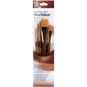 Princeton™ RealValue™ Watercolor Acrylic and Tempera Brush Golden Taklon Set: Short Handle, Taklon, Round, Wash, Acrylic, Tempera, Watercolor, (model 9146), price per set