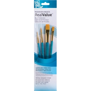 Princeton™ RealValue™ Watercolor Acrylic and Tempera Golden Taklon Brush Set: Short Handle, Taklon, Flat, Round, Wash, Acrylic, Tempera, Watercolor, (model 9171), price per set