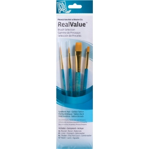 Princeton™ RealValue™ Watercolor Acrylic and Tempera Golden Taklon Brush Set: Short Handle, Taklon, Liner, Round, Shader, Wash, Acrylic, Tempera, Watercolor, (model 9172), price per set