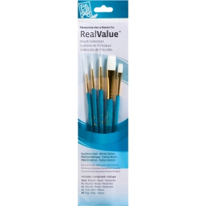 Princeton™ RealValue™ Watercolor Acrylic and Tempera White Taklon Brush Set: Short Handle, Taklon, Flat, Round, Acrylic, Tempera, Watercolor, (model 9174), price per set