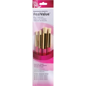 Princeton™ RealValue™ Oil Acrylic and Stain Bristle Brush Set: Short Handle, Bristle, Stencil, Acrylic, Oil, Stain, (model 9180), price per set