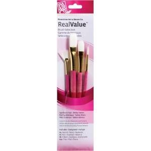 Princeton™ RealValue™ Watercolor Oil Acrylic and Tempera White Taklon Brush Set: Short Handle, Taklon, Fan, Filbert, Flat, Round, Acrylic, Oil, Tempera, Watercolor