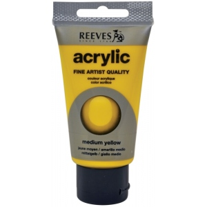 Reeves™ Acrylic Color 75ml Medium Yellow: Yellow, Tube, 75 ml, Acrylic
