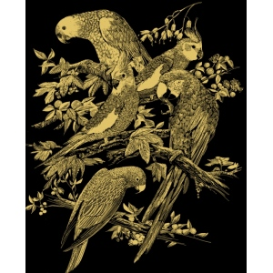 "Reeves™ Scraperfoil™ Gold Foil Birds Montage: Metallic, 8"" x 10"", (model PPCF19), price per each"