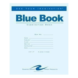 "Roaring Spring Exam Blue Books: Stapled, Book, 4 Sheets, 7"" x 8 1/2"", Line, (model ROA115), price per each"